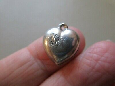 Antique Vintage Sterling Silver Puffy Heart Fob Charm Pendant Valentines Day Old