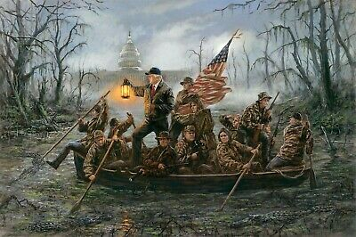 Trump Crossing the Swamp HD Canvas print Home decor Art Painting 16X24INCH