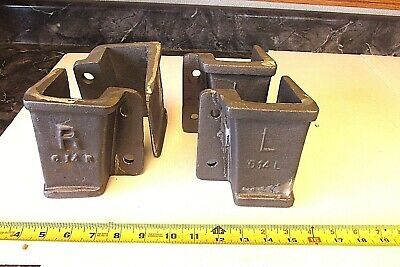 2R + 2L Cast Iron Lineberry Wood  Wheel Factory Cart Stake Pocket Holder