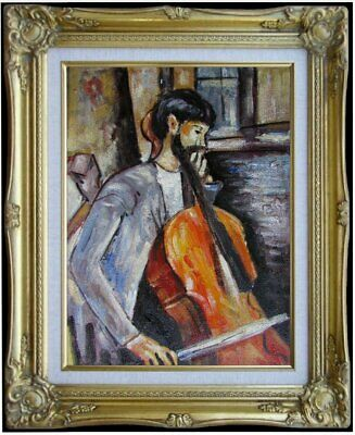 Framed, Modigliani The Cellist Repro, Quality Hand Painted Oil Painting, 12x16in
