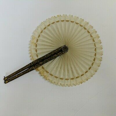 Victorian Mourning Fan Oilcloth Brass Tip Latch Wood Handles