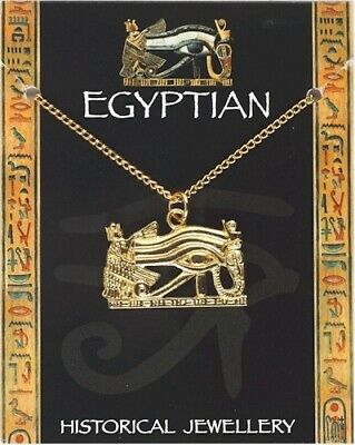 Egyptian Wadjet Eye Gold Plated Pewter Pendant On A Chain