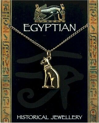 Egyptian Cat Gold Plated Pewter Pendant On A Chain