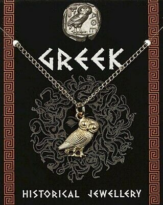 Greek Owl Gold Plated Pewter Pendant On A Chain