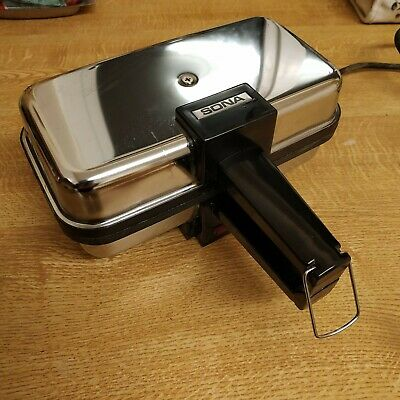 Vintage SONA TS-10 compact Sandwich Toaster - chrome styling .