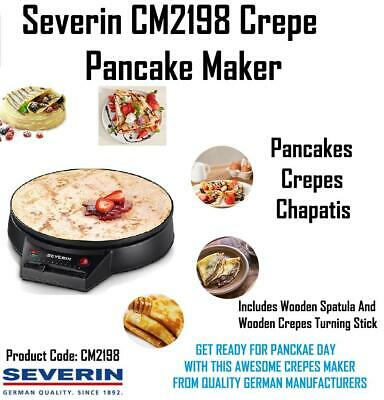 Severin CM2198 Pancake Maker Crepes Chapati Sweet Savoury Sugar Lemon Fruit