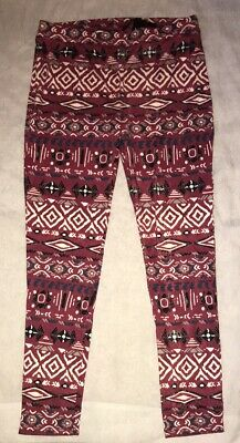 Poof Big Girls Aztec Pattern Leggings Pink White And Blue Soft Comfy & Sexy NWT!