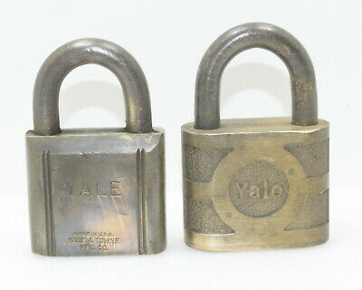 Pair of Vintage Yale & Towne Heavy Brass Padlocks ~ NO KEYS (INV I178)