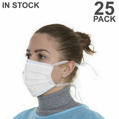 Disposable Face Mask 25 PCS Surgical Medical Dental 3-Ply Ear Loop Masks White