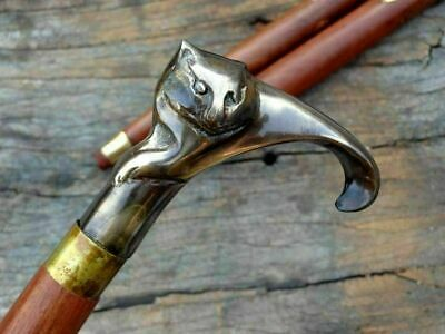 Antique Solid Brass Cat Head Handle Vintage Wooden Walking Stick Nautical Cane