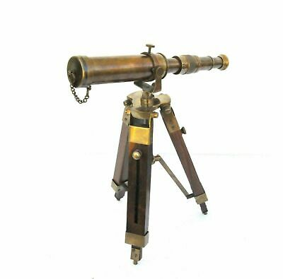 Maritime Decorative Brass Antique Telescope With Wooden Tripod Collectible Gift