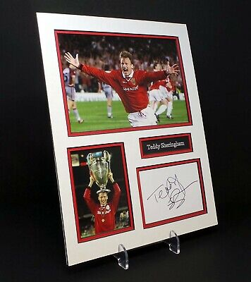 Teddy SHERRINGHAM Signed Mounted Photo Display AFTAL COA Ex Man Utd Footballer