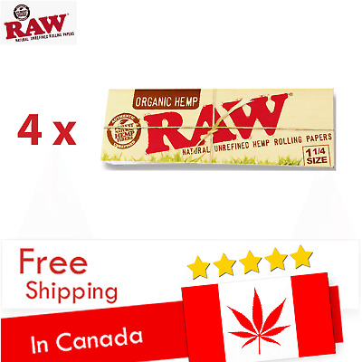 5 x RAW Organic Hemp 1 1/4 Cigarette Rolling Papers - SHIP EVERY DAY FROM CANADA