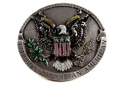 1981 Bergamont Proud To Be An American Enameled Belt Buckle 62514