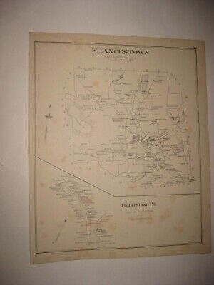 Antique 1892 Francestown Hillsborough County New Hampshire Map Detailed Rare Nr