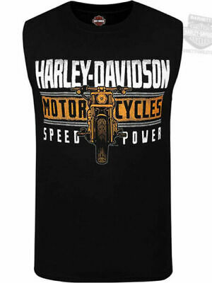 Harley-Davidson Mens Power Stripes Motorcycle Black Sleeveless Muscle T-Shirt