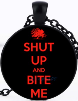 Shut Up & Bite Me Red & Black Frame & Chain Pendant Necklace USA SELLER Cabochon