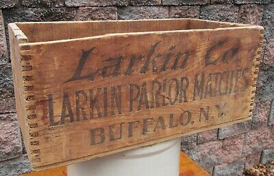 RARE Antique LARKIN Soap PARLOR MATCHES Wood Crate Box ~ Country Store Storage