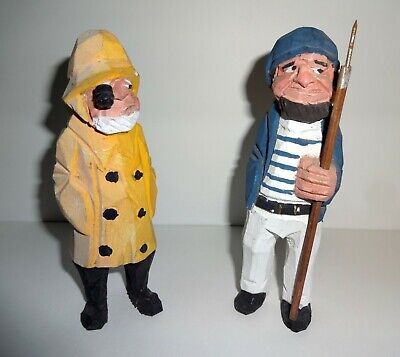 """2 Sailor Sea Captain Fisherman Figurine Wooden Nautical 5 1/2"""" Tall Hand Carved"""