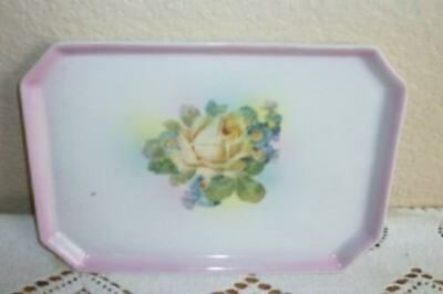 ANTIQUE GERMAN PORCELAIN VANITY TRAY ROSE PINK YELLOW 1920's COTTAGE