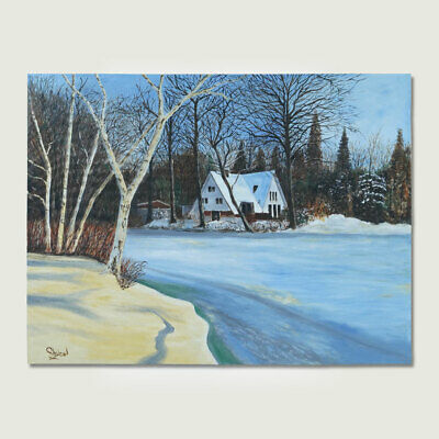 A House In Winter Landscape Painting Handmade Painting By Real Artist