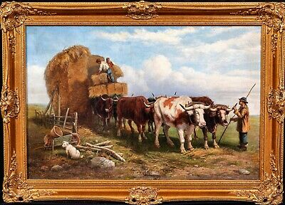 Large 19th Century English Oxen Bullock Hay Cart Farming Landscape Signed