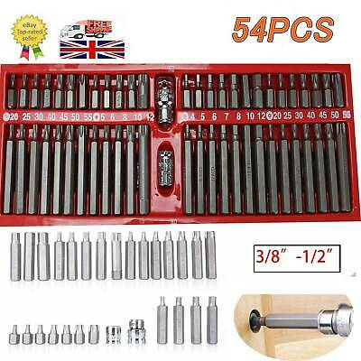 54 Piece Hex Star Torx Spline Socket Bit Set Tool Kit Garage Tools Equipment