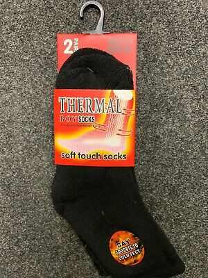 2 pairs childrens black thermal bushed lined socks