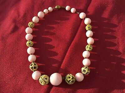 Antique Chinese Angel Skin Pink And White Coral And Carved Bovine Bone Necklace