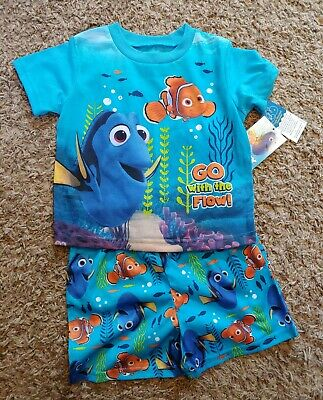 Toddler Boys Nemo and Dory Go With The Flow Pajama Shorts Set