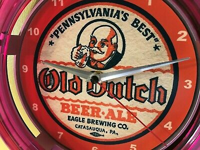 Old Dutch Beer Bar Advertising Man Cave Neon Wall Clock Sign