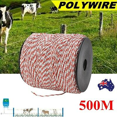 500m Polywire Roll Electric Fence Energiser Stainless Poly Wire Insulator Tool A