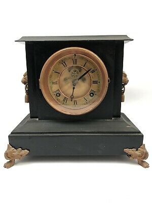 ANTIQUE WATERBURY CO. CLOCK 1881 Connecticut USA Cast Iron Brass Shelf Mantel