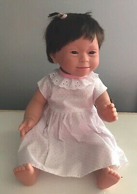Down Syndrome Baby Doll ~ Brown Hair Girl 40cm ~ Anatomically Correct