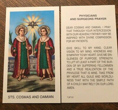 Catholic Holy Card - St. Cosmas and St. Damian - Physician and Surgeon