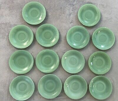 Set Of 14 FIRE KING Jadeite Oven Ware Saucers