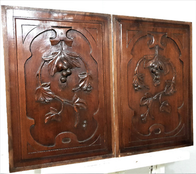 Pair fruit scroll leaf wood carving panel Antique french architectural salvage