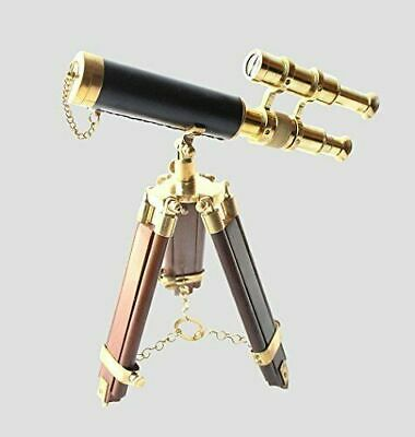 Nautical Maritime Double Barrel Brass Vintage Telescope W/ Wooden Tripod Gift
