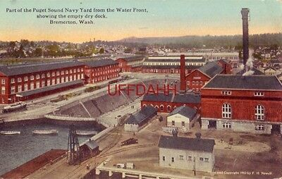 1920 Puget Sound Navy Yard From The Water Front, Showing Dry Dock, Bremerton, Wa