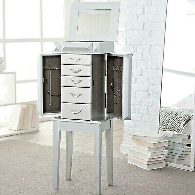 Glam Modern Wood Jewelry Cabinet Armoire Storage Silver Box Chest Stand Mirror