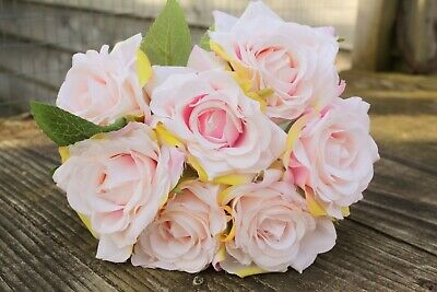 7 x  PALE PEACHY IVORY / PINK BLUSH SILK ROSES 6cm TIED BUNCH / SMALL BOUQUET