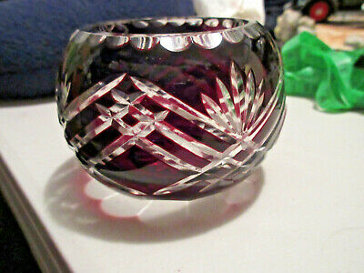 Small Bohemian Czech Ruby Red Cut to Clear Glass Rose Bowl Vase
