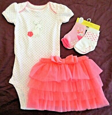 6M Just One You Carter/'s  Easter Outfit bodysuit bright pink tutu dress up bunny