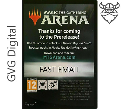 Theros Beyond Death Prerelease MTGA Magic Arena 6 Boosters FAST Code EMAIL 1/act
