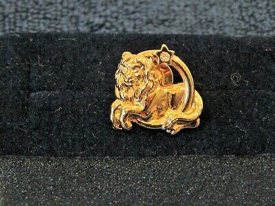 Gold Tone Lion Face Shape Tie Tack Lapel Pin With Diamond Stone On Tail