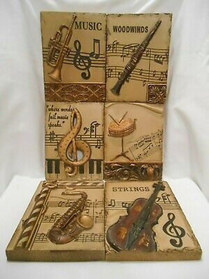 Set Of 6 Hard Plastic - Resin Musical Wall Plaques