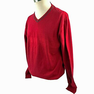 $125 Jos A Bank JOSEPH cotton and cashmere V neck Sweater in burgundy XL