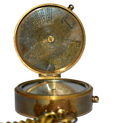 Antique vintage brass pocket compass with calender good collectible gift item