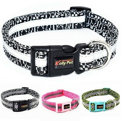 Nylon Reflective Dog Collars Pet Cat Puppy Cloth Collar Neck Adjustable Buckle