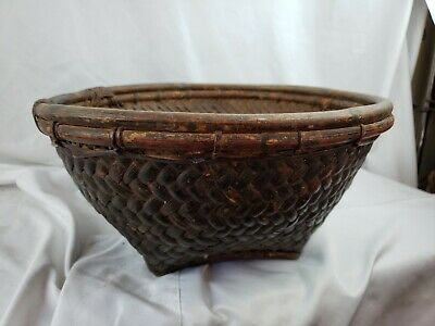 "Antique Chinese Handwoven Fruit Basket, Large, 14"" wide"